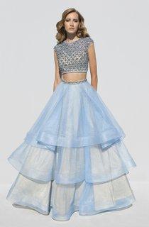A-Line Floor-Length Scoop-Neck Cap-Sleeve Organza Tiers Beading Dress