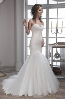 Trumpet Floor-Length Sweetheart Sleeveless Backless Tulle Dress With Criss Cross