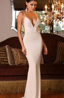 Sleeveless V-neck Long Mermaid Chiffon Backless Dress