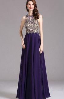 Empire High-Neck Sleeveless Empire Chiffon Beading Illusion Dress