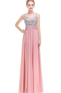 A-line Floor-length Dress with Beaded Bodice and V-back