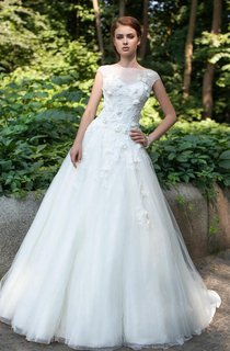 Ball Gown Maxi Bateau Cap-Sleeve Deep-V-Back Tulle Dress With Appliques And Flower