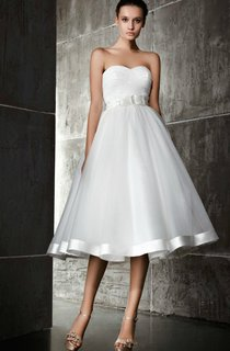 A Line Sweetheart Tea Length Dress