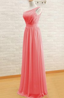 Floor-length One-shoulder Pleats Chiffon Dress