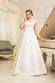 A-Line Long Jewel-Neck Cap-Sleeve Lace-Up Lace Dress