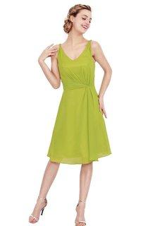 Simple Sleeveless A-line Ruched Chiffon Dress