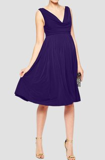 Sleeveless V Neck Empire A-line Jersey Dress With Pleats