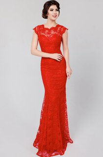 Mermaid Floor-length High Neck Short Sleeve Lace Keyhole Dress