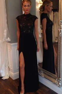 Cap-sleeved Long Lace Gown with Side Slit