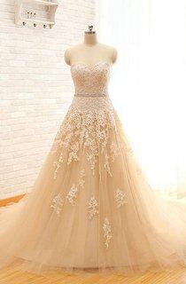 Long Sweetheart Cap Appliques Keyhole Tulle Lace Dress