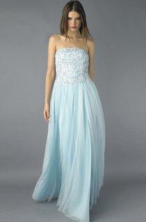 A-line Floor-length Strapless Sleeveless Tulle Zipper Dress