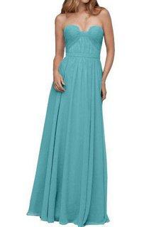 Strapless Ruched Chiffon Long Bridesmaid Dress