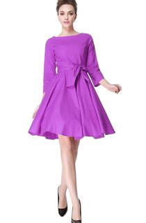 3-4 Sleeved A-line Dress with Pleats and Bow