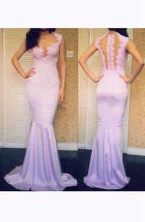 Cap-sleeved V-neck Mermaid Chiffon Dress with Lace