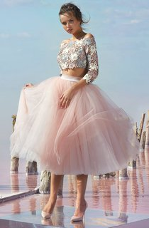 A Line Knee Length Off The Shoulder 3 4 Length Sleeve Tulle Button Dress