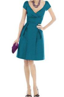 V-neck A-line Short Sleeve Satin Dress