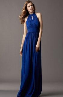 Chic Sleeveless Ruched Empire Waist Chiffon Dress With Cutouts