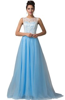 High-neck A-line Chiffon Dress With Lace Bodice