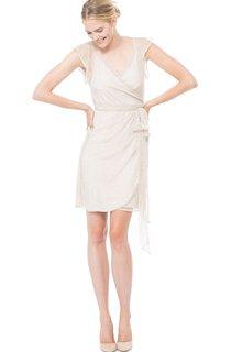 Ruffled Impressive V-Neck Tulle Dress With Cap-Sleeves