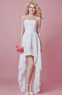 Strapless Lace and Chiffon High-low Dress With Cascading Ruffles