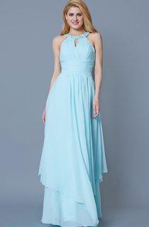 Sleeveless Jewel Neck Ruffled Long Chiffon Dress