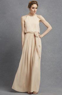 Long-Chiffon Lavish Dress With Jewel Neck
