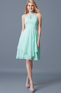 Elegant Sleeveless Tiered Knee Length Chiffon Dress With Keyhole Back