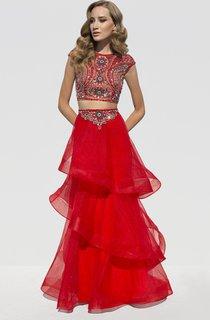 A-Line Floor-Length Scoop-Neck Cap-Sleeve Organza Beading Tiers Dress
