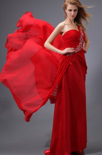 Chiffon Ruched Floor-Length Dress With Beaded Strap