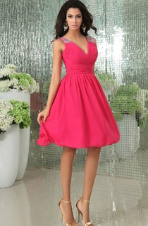 Deep V-Neck Chiffon Dress With Beaded Strap