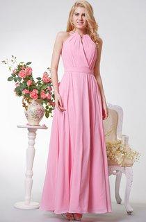 Special Halter A-line Long Chiffon Dress