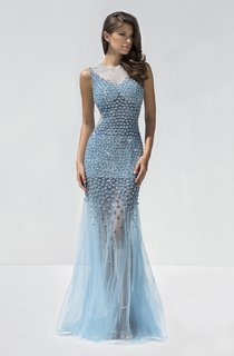 Mermaid Floor-Length Jewel-Neck Sleeveless Tulle Beading Ruffles Illusion Dress