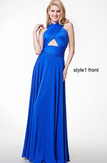 Changeable Criss Cross Halter Neck Ruched Long Jersey Gown With Pleats