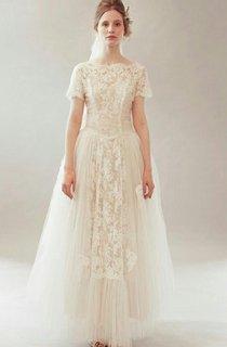 Short Sleeve A-Line Lace Dress With Bateau Neck