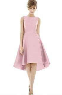 Knee-Length Jewel Satin Dress with Pleats and V-Back