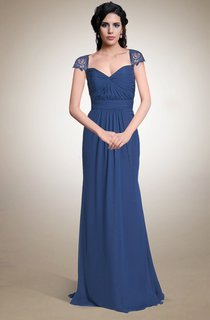 Queen Anne Neck Long Chiffon Dress With Keyhole Back