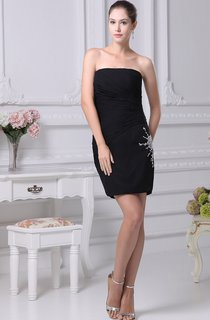Sleeveless Short Fitted Side Ruching and Dress With Appliques