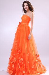 Strapless A-Line Dress With Tulle Overlay and Floral Embellishment