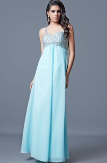 Noble Sleeveless Long Ruched Chiffon Dress With Beaded Bust and Straps