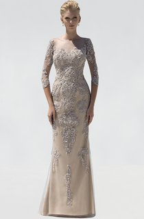 Sheath Long Scoop-Neck 3-4-Sleeve Beading Appliques Illusion Dress