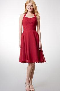 Elegant Halter Style Soft-pleated Layered A-line Chiffon Dress