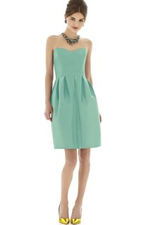 Satin Simple Strapless Dress With Zipper Back