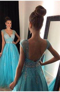Elegant V-Neck Beadings Prom Dresses 2016 Long A-Line Tulle