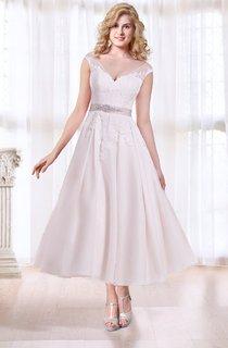 Tea Length A-line Wedding Dress with Sash