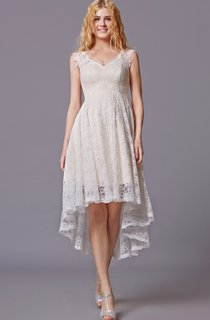 Traditional Twist Wedding Dress With Sleeveless Lacy Style and Asymmetrical Cut