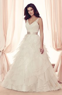 V-neck Lace Dress With Sash And Cascading Ruffles