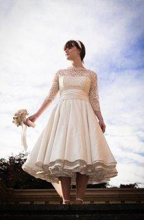 Illusion Half Sleeve High Neck A-Line Taffeta Tea Length Dress