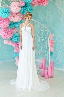 A-Line Maxi Straps Sleeveless Empire Lace-Up Chiffon Dress With Beading And Pleats