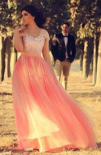 Romantic Cap Sleeve Tulle Pink Evening Dress Crystals Floor-length