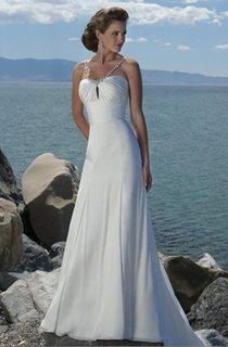 sheath Empire Spaghetti Straps Chiffon Beach Wedding Dress